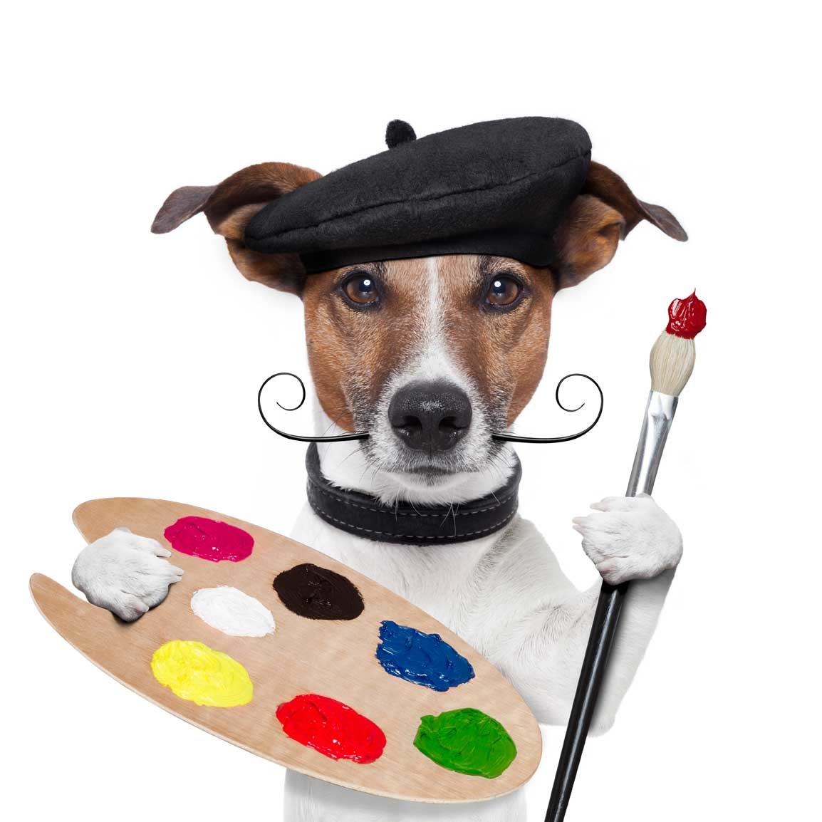 Dog dressed as artist