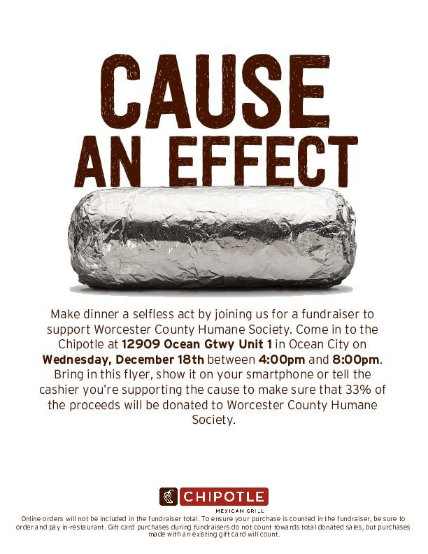 chipotle west ocean city fundraiser to support Worcester County Humane Society December 18 4pm-8pm